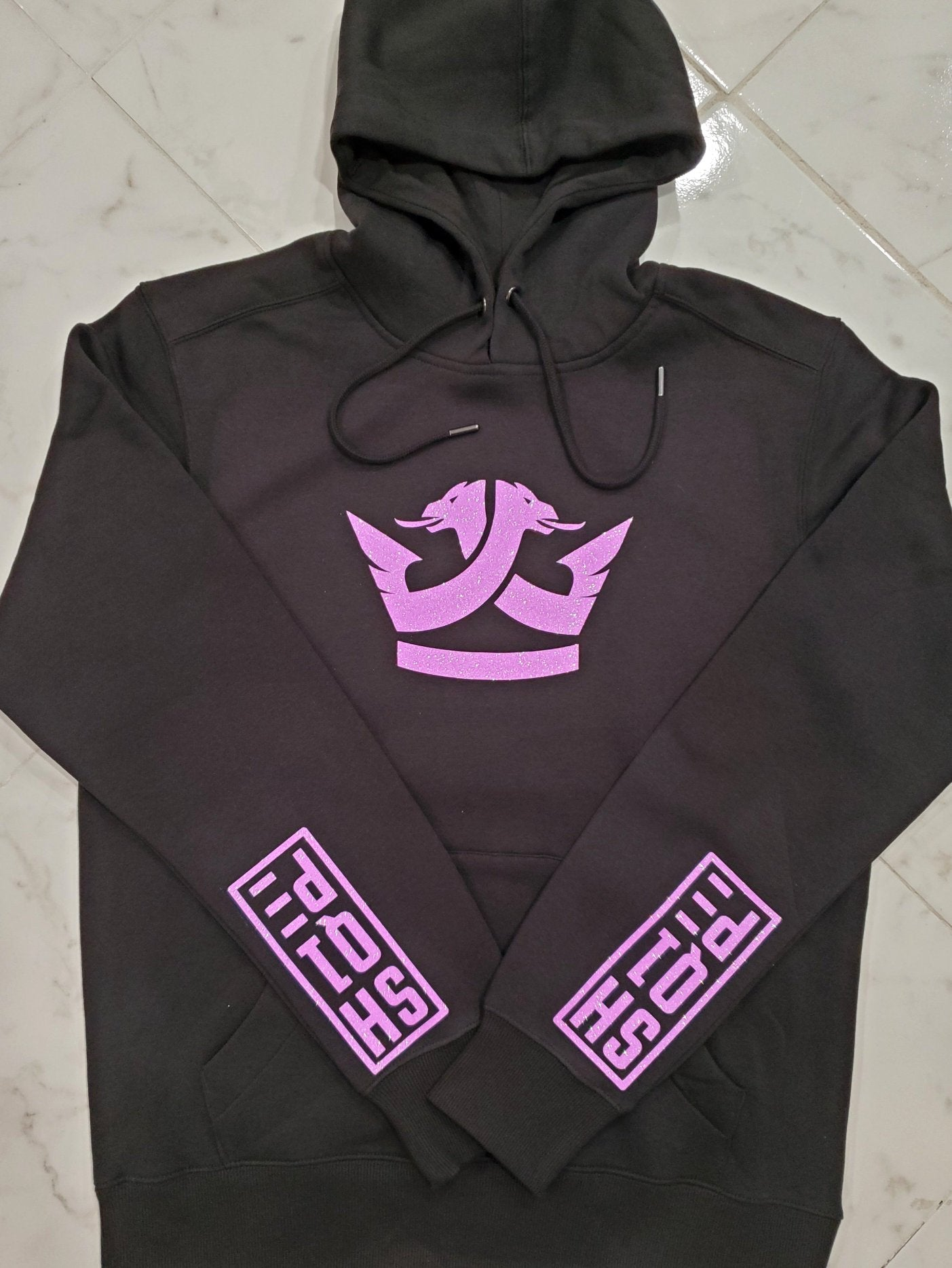 Limited Edition Shq1pe Hoodies- Jet Black (Hot Pink Sparkle)