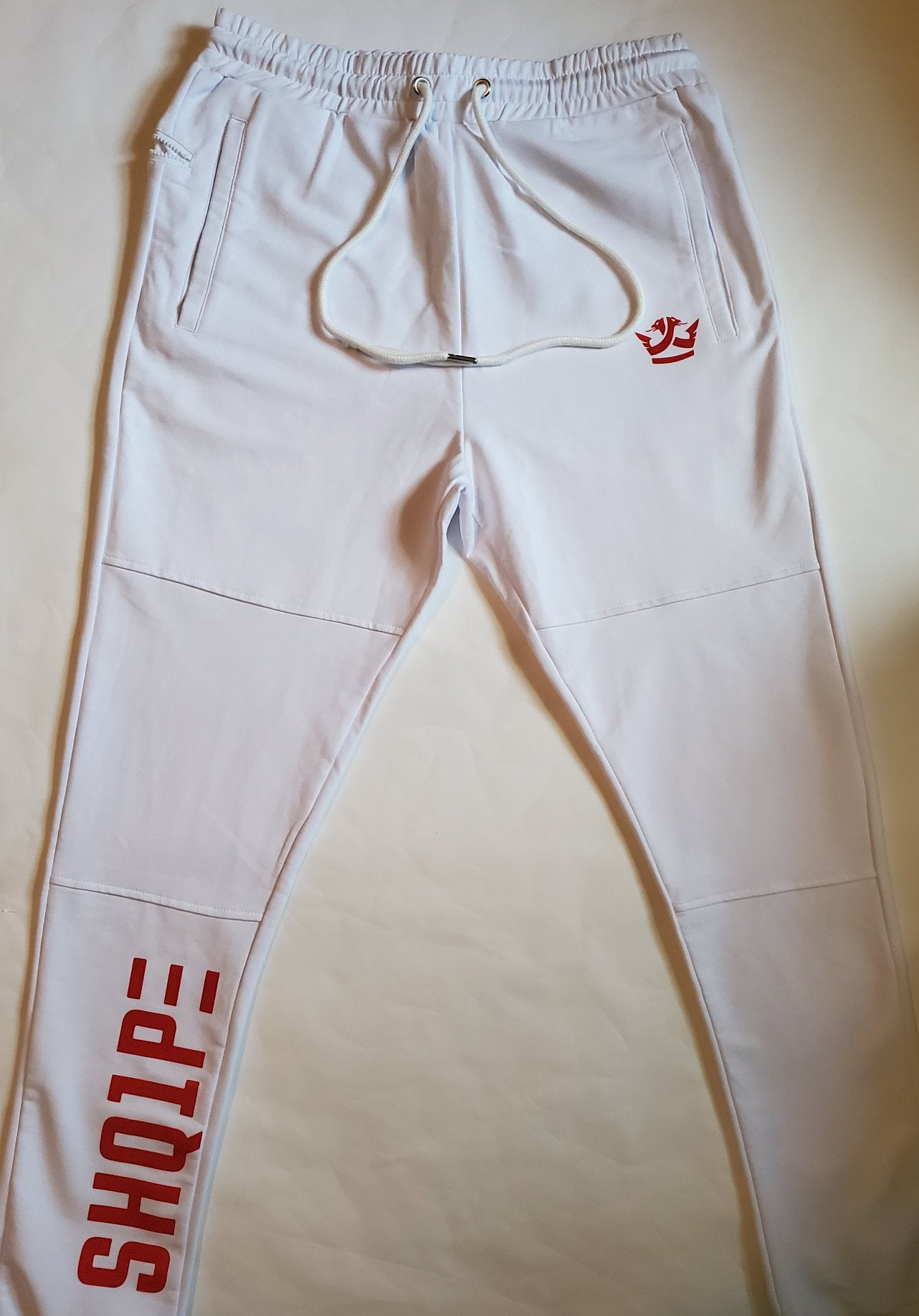 Streetwear full tracksuit - White (Red Logo)