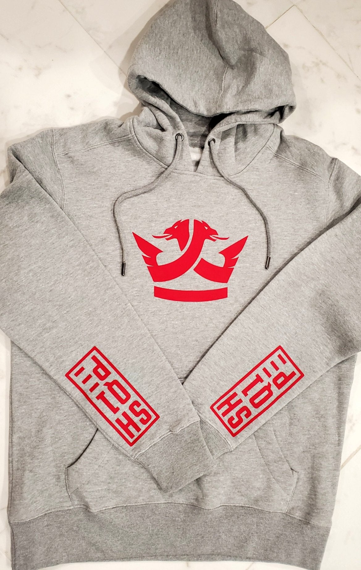 2nd Edition Shq1pe Hoodie  - Gray (Red Logo)