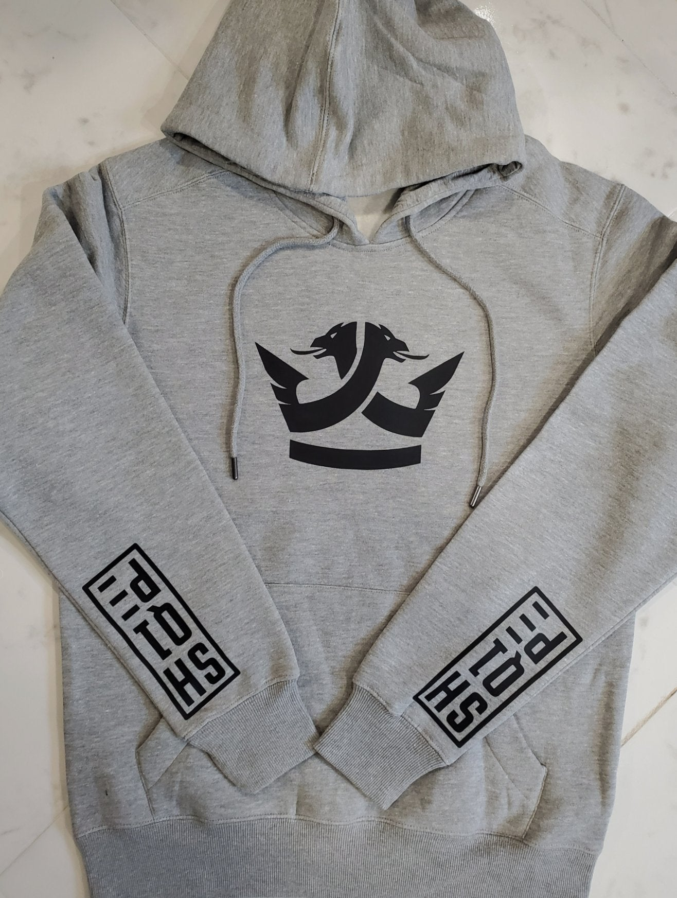 2nd Edition Shq1pe Hoodie - Gray (Black Logo)