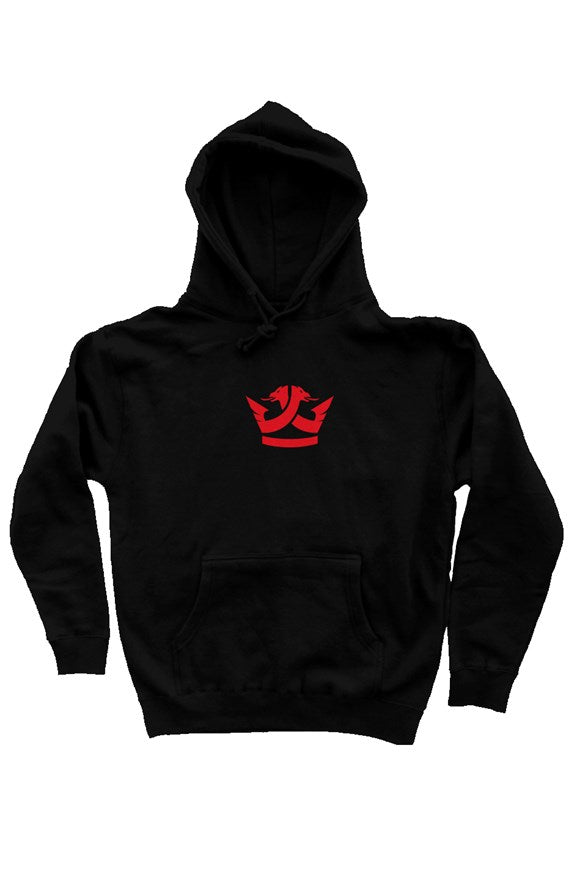 Pullover Hoodie- (Black) Red Crown