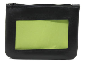 neon bright green black ita cosmetic bag pencil pouch Anime Posh vegan leather satin