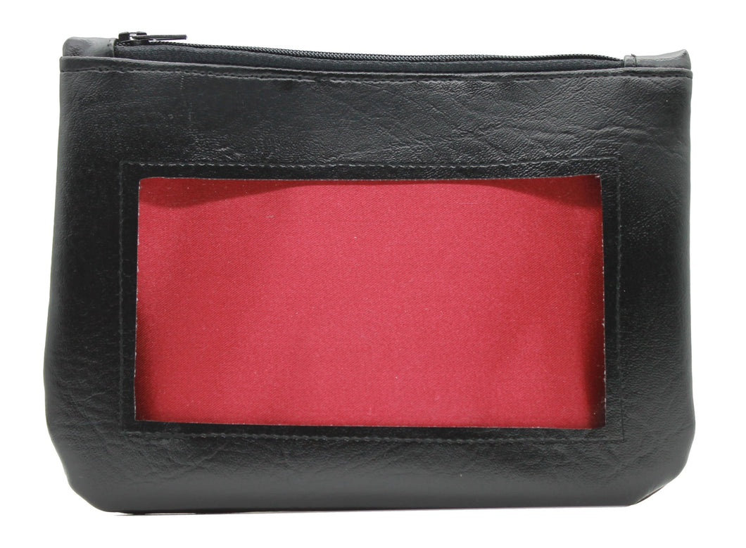 red black ita cosmetic bag pencil pouch Anime Posh vegan leather satin