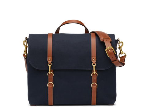 M/S Satchel - Midnight blue/Cuoio