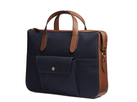 M/S Briefcase - Midnight blue/Cuoio