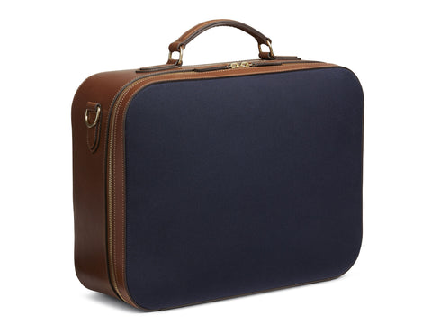 M/S Suitcase - Midnight blue/Cuoio