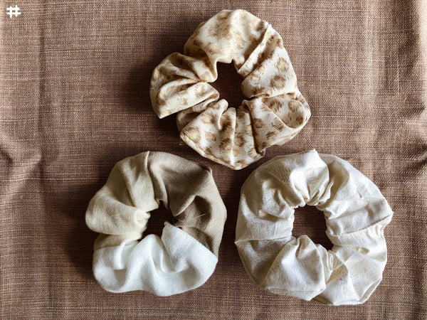 Beige Handmade Hair Scrunchies Large 3x Pack