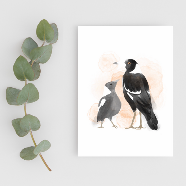 Magpies (Art Print on Recycled Paper)