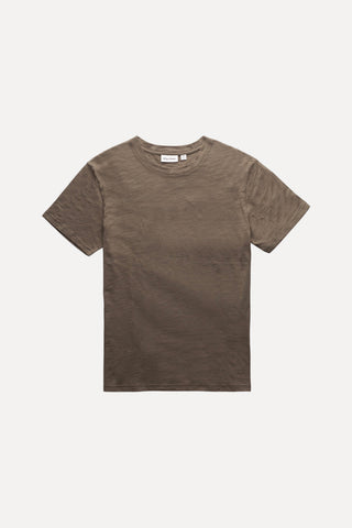 Classic 100% Cotton Slub Tee with Small Tonal Embroidery at the Back Neck, Rhythm, $30