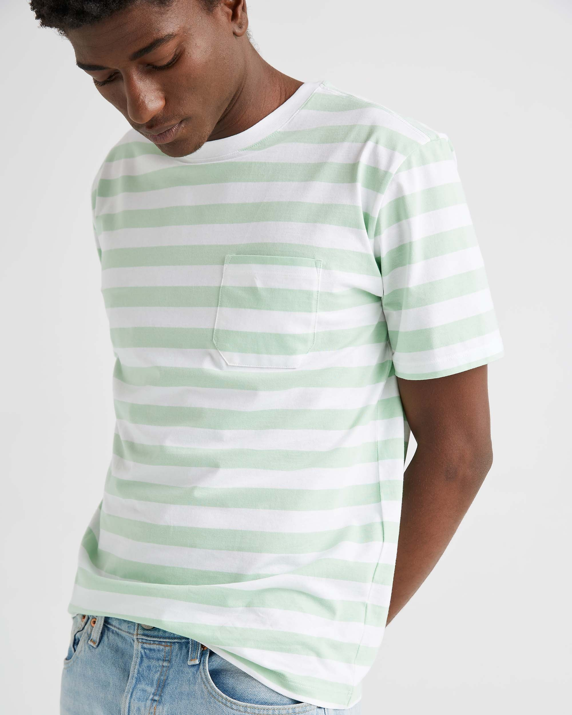SS Striped Pocket Tee