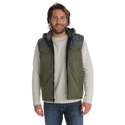 Fleece Lined Two-Tone Color Block Vest with Chest Patch Pockets and Herringbone Print on Shoulders, PX Clothing, $80.00