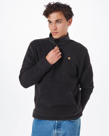 LS Quarter Zip Mock Neck Fleece with Kangaroo Front Pocket in Anti-Pilling Finished 100% Recycled Polyester Fabric, tentree, $98