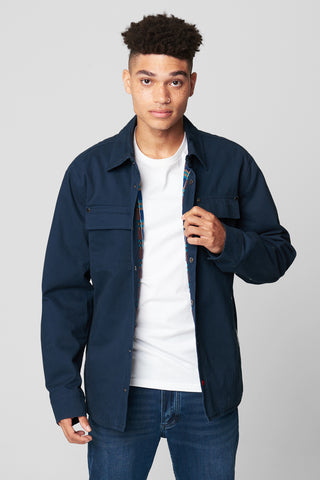 Utility Snap Up Shirt Jacket with Plaid Lining, Blank NYC, $98