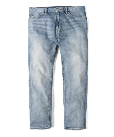 "12 oz Organic Cotton Straight Fit Denim 32"" Inseam in Baja Blue Wash, Outerknown, $128"