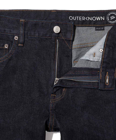 "12 oz Organic Cotton Straight Fit Denim 32"" Inseam in Indigo Wash, Outerknown, $128"
