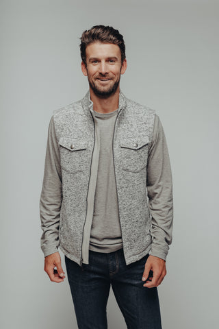 Heathered Melange Fleece Vest with Double Pockets and Metal Accents, The Normal Brand, $98
