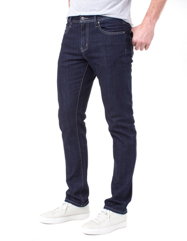 "Indigo Rinse Wash 11.4 oz Comfort Stretch Denim in Modern Slim Straight Fit with 14.5"" Leg Opening 32"" Inseam, Liverpool Denim, $98"