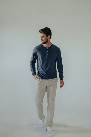 Lightweight Jersey Cotton Henley with Stretch, The Normal Brand, $58