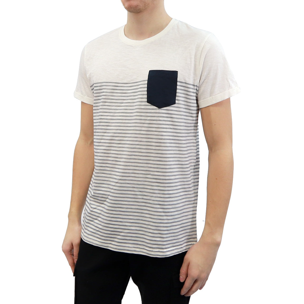 Patch Pocket w/ Placed Stripes Tee