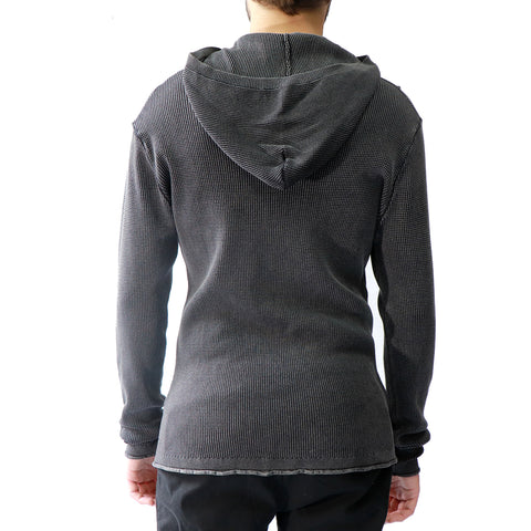 Lightweight Waffle Knit Hooded Henley in Acid Wash, Hedge, $52