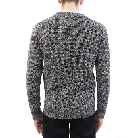 Crew Neck Shaker Knit Sweater in Organic Cotton and Polyester Blend, Hedge, $54