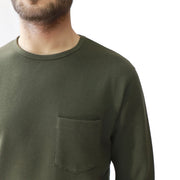 Long Sleeve Tee with Pocket in Signature Ottoman Ribbed Cotton/Polyester Fabric, Hedge, $52