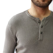 Waffle Knit LS Henley with Side Detail in Acid Wash, Hedge, $49.50