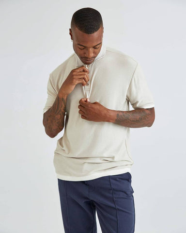 Classic Fit SS Polo in Brushed Jersey Fabric and Dropped Shoulders, Richer Poorer, $58