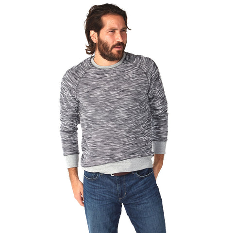 Two-Tone Knit Crew Sweater with Raglan Sleeve and Contrast Rib Cuff, Hem, and Collar, PX Clothing, $45.00