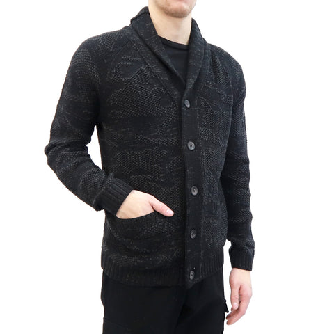 Shawl Collar Cardigan in a Subtle Jacquard Camo with Front Pockets, Hedge, $75