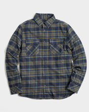 Brushed Flannel with Dual Flap Chest Pockets in Organic Cotton and Recycled Polyester Blend Fabric, United by Blue, $88