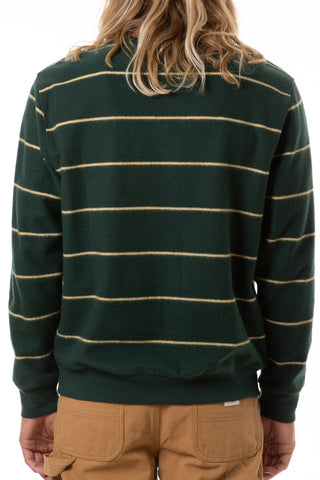 Brushed 2-Tone Heather Speckle Yarn Sweater in Wide Stripe Pattern, Katin, $56