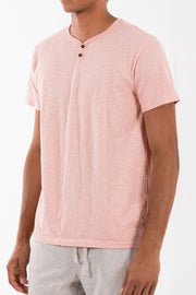 Classic SS Henley Pigment Dyed and Enzyme Washed Tee, Katin, $38