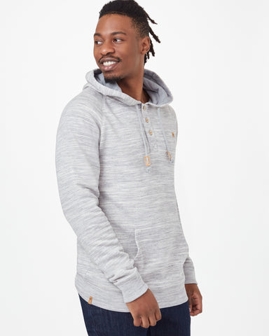 Midweight Pullover Henley Hoodie in Organic Cotton and Recycled Polyester Fabric, tentree, $78