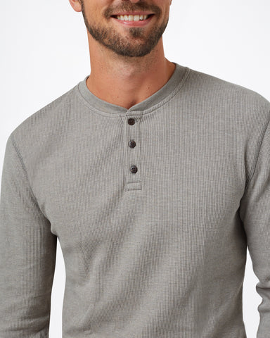 Slim Fit LS Waffle Henley Tee with Raglan Sleeves in Organic Cotton and Tencel Blend Fabric, tentree, $68