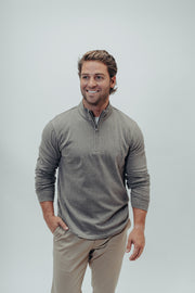 Soft, Comfortable LS Quarter Zip Pullover in Signature Puremeso Fabric and Select Contrast Trim Details, The Normal Brand, $68.00