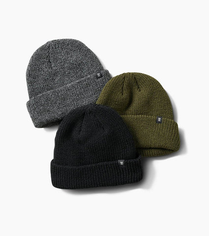 Tight Ribbed Knit Beanie Hats with Fold Over Cuff in 3 Colors - Black, Military, Heather Grey, Roark, $32