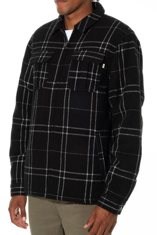 Full Zip Yarn Dyed Plaid Wool Blend Jacket with Sherpa Lining in Body, Katin, $120
