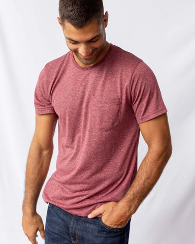 Crew Neck Jersey Knit Pocket Tee in Recycled Polyester and Hemp Blend Fabric, United by Blue, $38