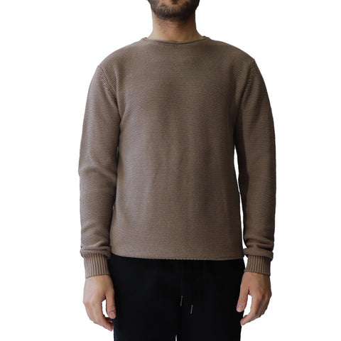 Crew Neck Sweater with Rolled Edge Neck Detail and Ribbed Cuff and Hem, Hedge, $54
