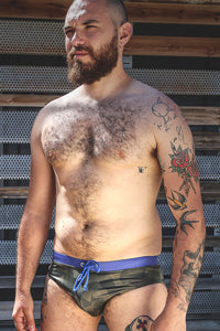 green army camo men's swim brief from S to 3xl plus size underbear