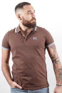 UnderBear Men Polo Shirt New Gold Chocolate Brown