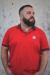 men polo shirt coral red three stripes from S to 3xl plus size underbear