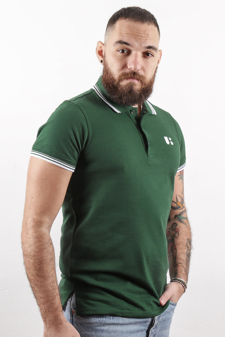 UnderBear Men Polo Shirt New Gold Forest Green
