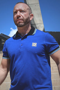 men polo shirt royal blue three stripes from S to 3xl plus size underbear
