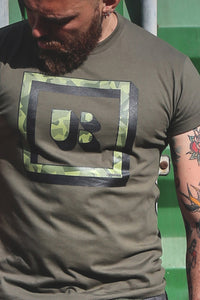 camouflage t-shirt men big plus size urban camo underbear army green