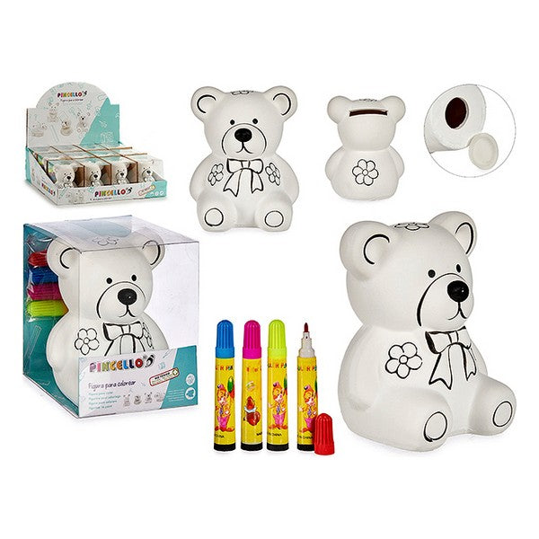 Piggy Bank to Paint Bear White Ceramic