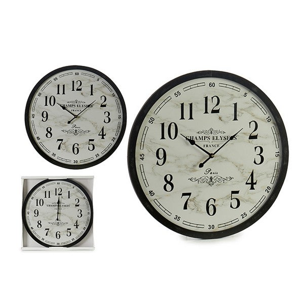 Wall Clock White Black (3,5 x 60 x 60 cm)