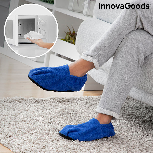 Microwavable Heated Slippers InnovaGoods Blue