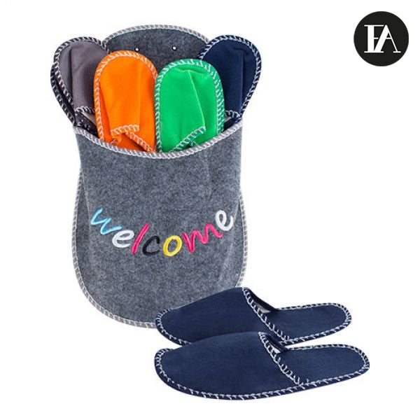 Welcome Slipper Holder with Slippers
